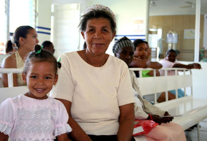 old, female, granddaughter, wait, recently, remodeled, waiting, room