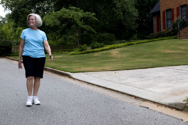 older woman, walking