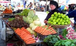 older women, sells, fruits, vegetables, stand, neighborhood, market, Tbilisi