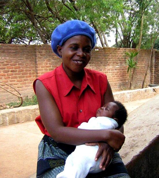 retrato, africano, mujer, niño
