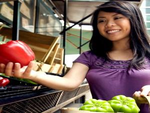 pretty, Asian, woman, woven, wooden, basket, market