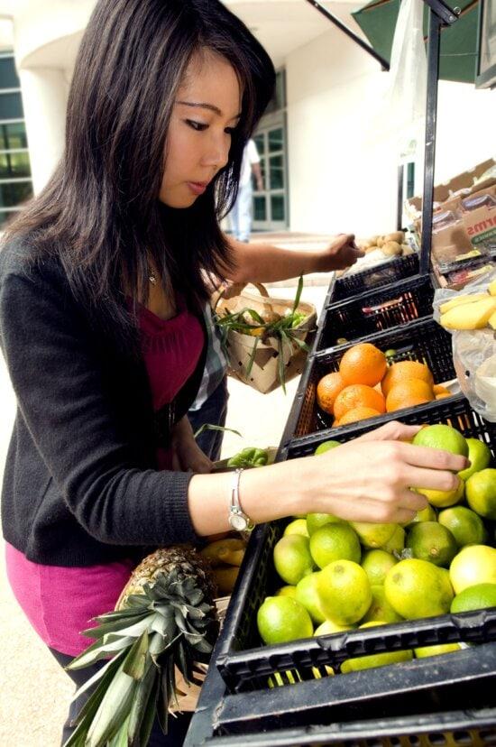 pretty, woman, shopping, groceries
