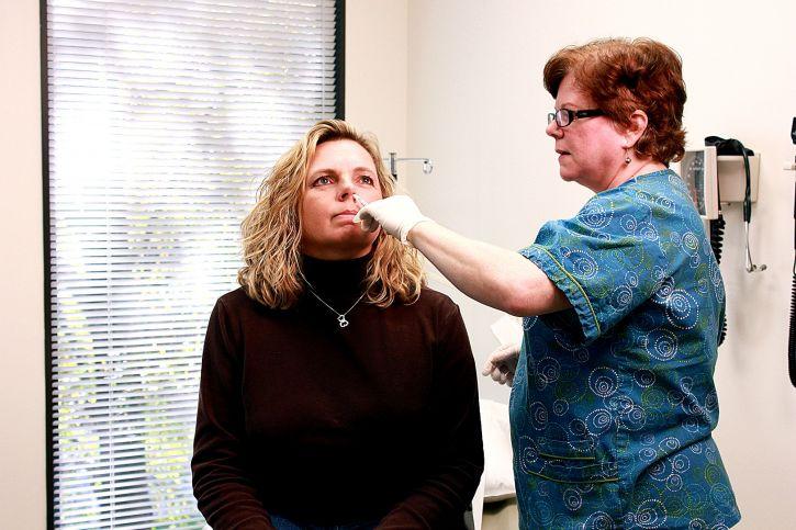 prosessen, administrere, dosering, live, dempes, intranasal, vaksine, nesebor
