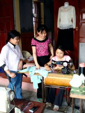 sewing, shop, owner, Vietnam, clients, discover, disabled, trainees