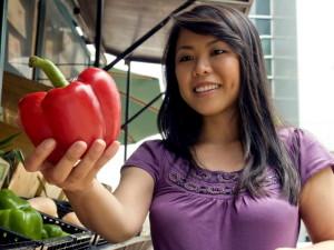 osmijeh, azijski, mlada žena, kupovinu