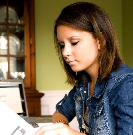 teenage girl, reading, book