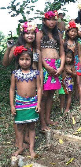 communautaires, accueille, visiteurs, coloré, robes, hibiscus, fleurs, Panama