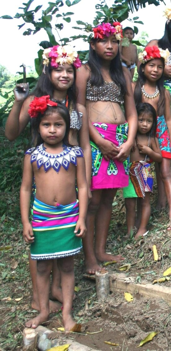 community, welcomes, visitors, colorful, dresses, hibiscus, flowers, Panama