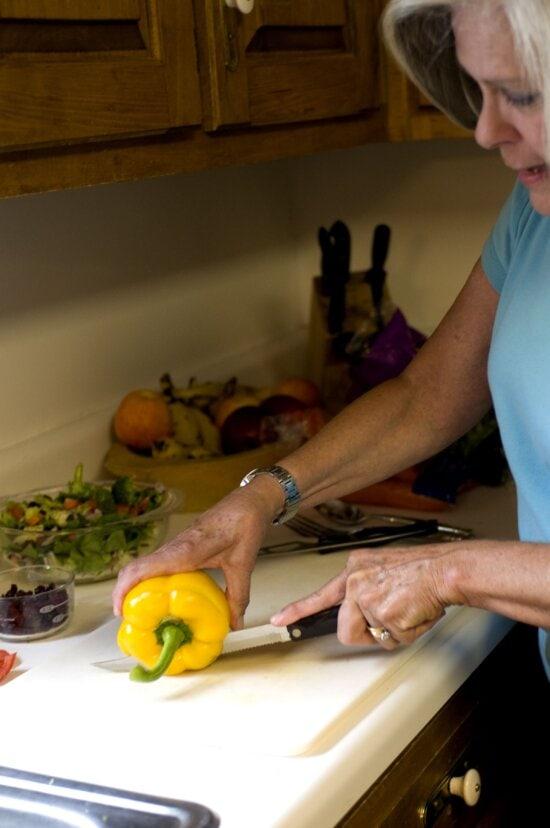 woman, image, shown, kitchen