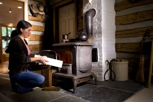 woman, place, appears, piece, treated, lumber, stove, fuel