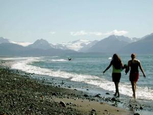 two, young, women, walk, bay, beach