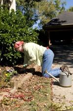 la main, à la truelle, creuser, trou, le jardinage, le travail