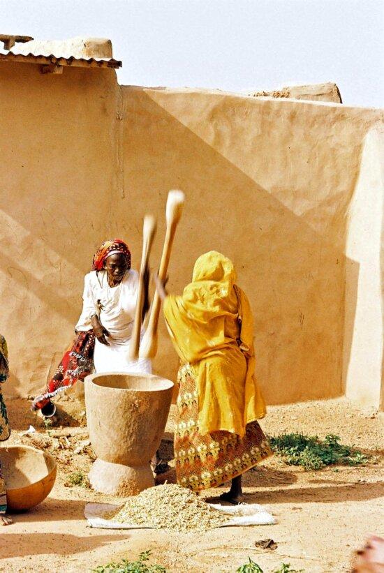 village, women, domestic, chores, women, pounding, grain, Nigeria