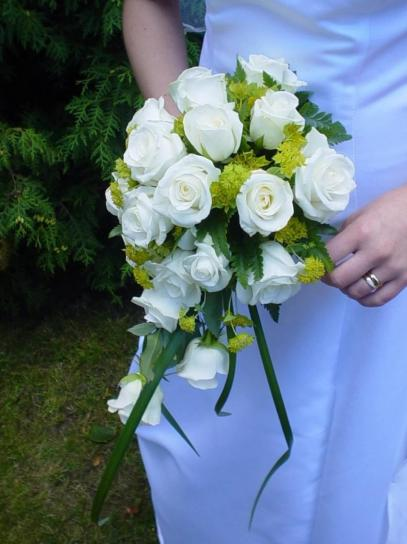 wedding, bouquet, white, roses