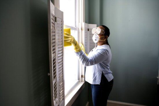 renovating, home, damp, sponge, cloth, clean, dust, collected, window, sill