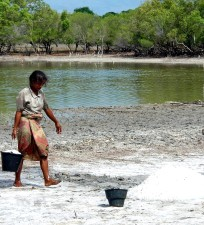woman, Laga, lake, east, Timor, helps, community, salt