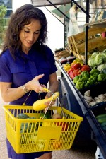 woman, choosing, healthy, fruits, vegetables, mobile, market