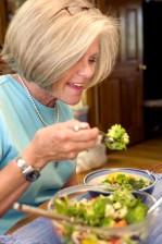 woman eating, vegetable, salad, packed, full, healthy, ingredients