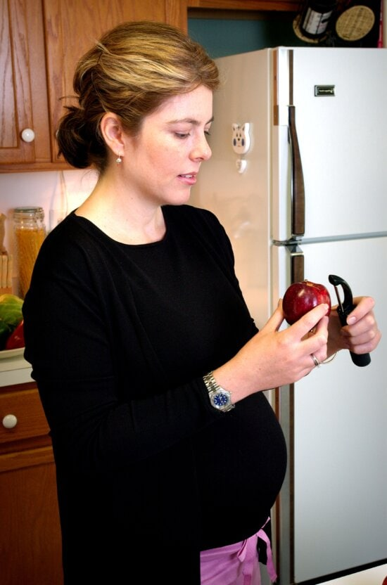 woman, process, peeling, apple, peeling, implement, washed, batch