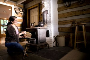 woman, traditional, house, wood, stove