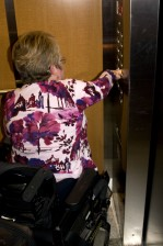 woman, wheelchair, accessible, building