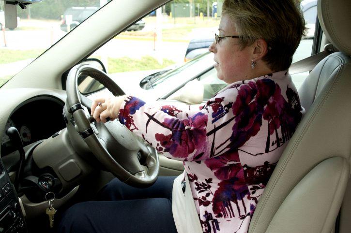 woman, car, driving