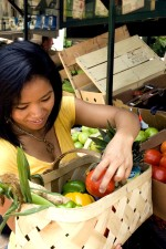 woman, vegetables, market, woven, wooden, basket