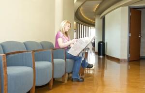 woman, reading, newspaper