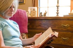 femme, lecture, livre