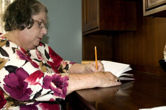 woman, sitting, home, desk