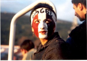 woman, painted, face, Kmara, movement, Georgia, protest, demanding, democracy