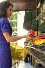 woman, yellow, plastic, basket, market