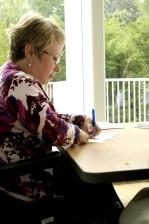 woman, work, table, writing