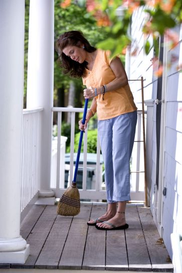 women, clean, floor, broom, balcony