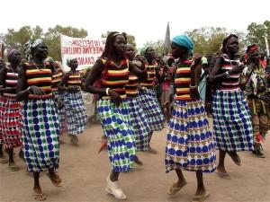 les femmes, Rumbek, Soudan, ont défilé, dansé, international, femmes, jour