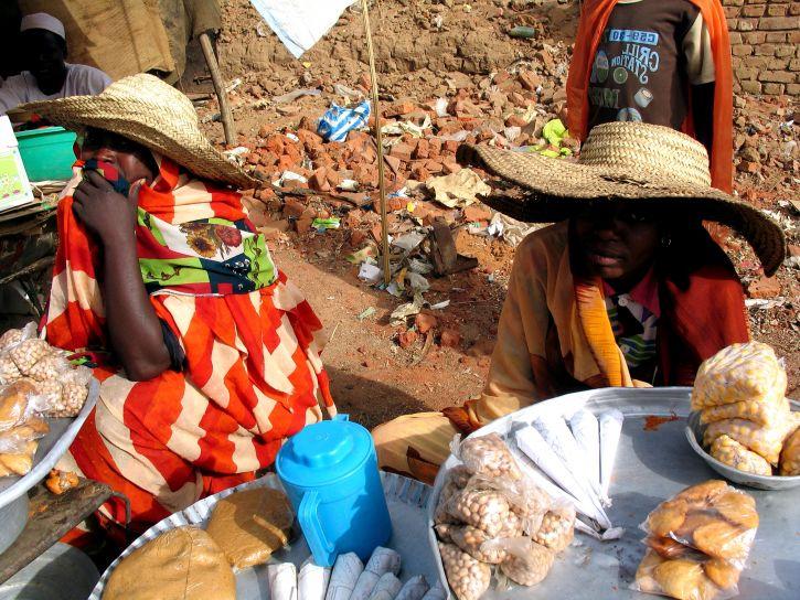 women, market, vendors, hats