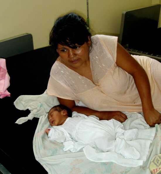 women, rests, newborn, daughter