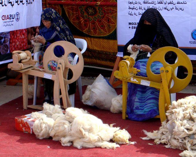 жени, въртене, Кашмир, нишка, Мазар, Шариф, agfair, Кашмир, изложба