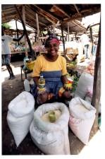 kobiety, sprzedają, ryż, drogi, wsparcie, Rodzina