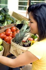 women, market, shopper, wooden, basket