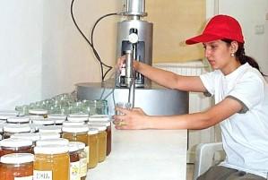 hembra joven, trabajador, botellas, miel, tarros, esterilizados, equipos