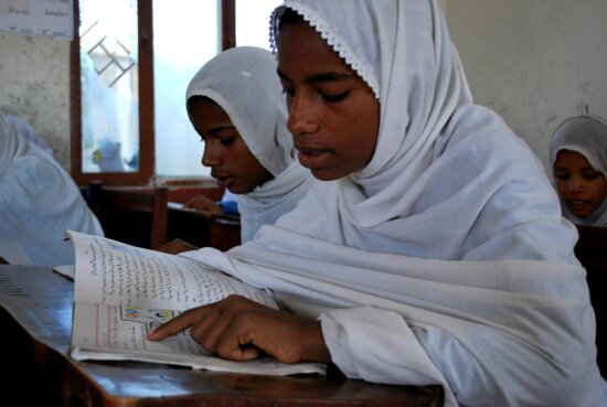 young girl, Balochistan, school, reads, pamphlet, safe, drinking, water