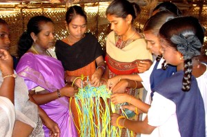 young, Indian, girls, learn, bookbinding, skills