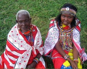 young, massai, girl, grandmother, participate, traditional, Massain, African, ceremony