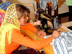 young woman, taking, lesson, tailoring, sewing