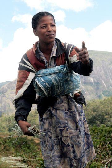 ung kvinde, levende, økoturisme, fjernbetjening, landsbyen, viser