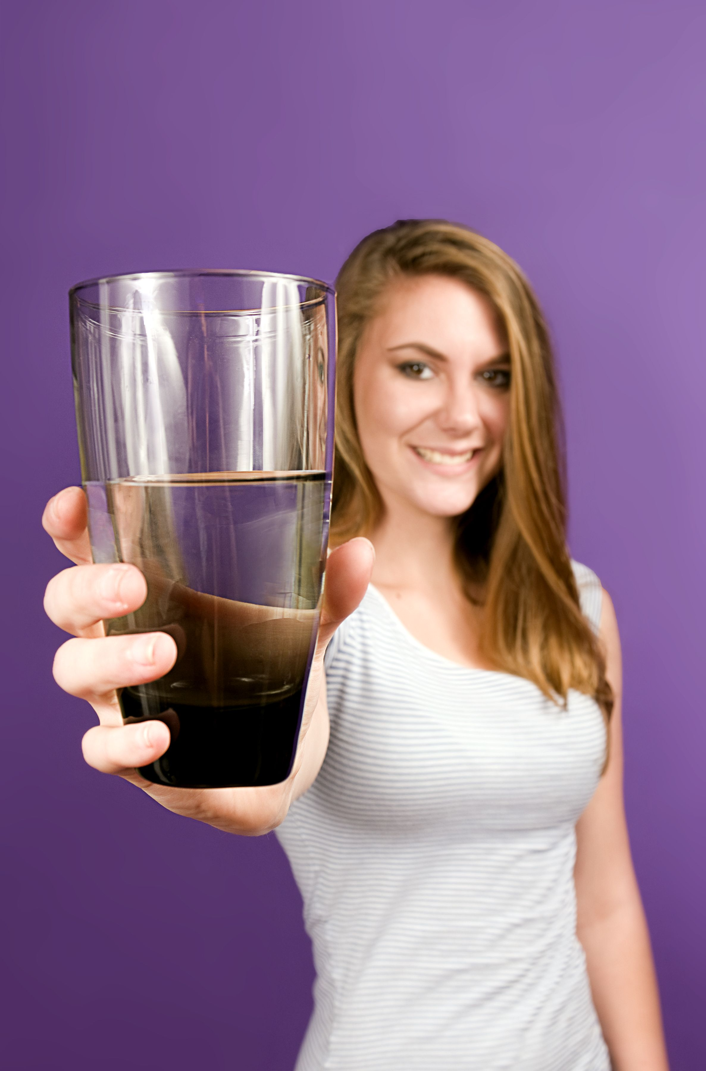 Free Picture Young Woman Offering Clean Glass Water