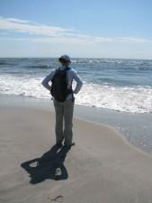 jeune, femme, plage, eau