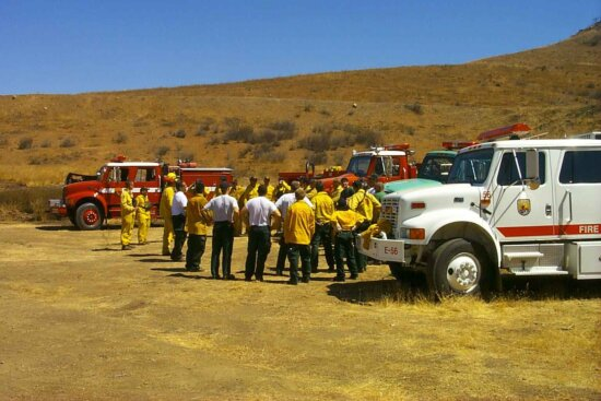 firefighters, hose, truck, vehicles, equipment, fire, fighting