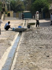 installer, drainage, fossés, transporter, eaux usées, Saida, quartier, Karada, district, Bagdad